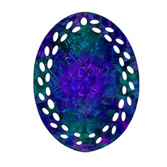 Indigo Abstract Art Oval Filigree Ornament (two Sides)