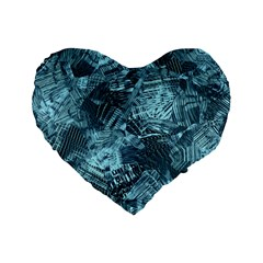 Teal Turquoise Abstract Art Standard 16  Premium Heart Shape Cushions