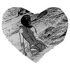 Beauty At The Beach, Bikini Girl Bathing In Bay Large 19  Premium Heart Shape Cushions
