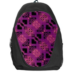 Fuchsia Black Abstract Checkered Stripes  Backpack Bag