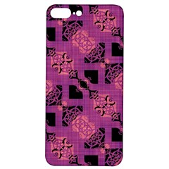 Fuchsia Black Abstract Checkered Stripes  Iphone 7/8 Plus Soft Bumper Uv Case by SpinnyChairDesigns