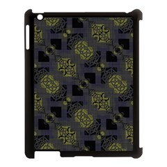 Grey Green Black Abstract Checkered Stripes Apple Ipad 3/4 Case (black)