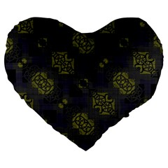 Grey Green Black Abstract Checkered Stripes Large 19  Premium Heart Shape Cushions