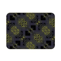 Grey Green Black Abstract Checkered Stripes Double Sided Flano Blanket (mini)