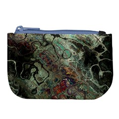 Black Green Grey Abstract Art Marble Texture Large Coin Purse