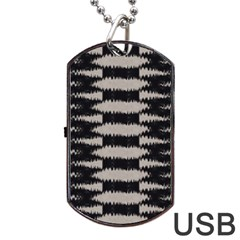 Black And White Zebra Ikat Stripes Dog Tag Usb Flash (one Side)