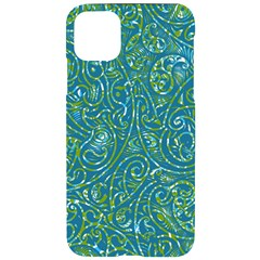 Abstract Blue Green Jungle Paisley Iphone 11 Pro Max Black Uv Print Case by SpinnyChairDesigns
