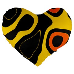 Yellow Black Orange Abstract Art Pattern Large 19  Premium Flano Heart Shape Cushions