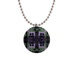 Chive Purple Black Abstract Art Pattern 1  Button Necklace