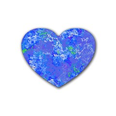 Bright Blue Paint Splatters Rubber Coaster (heart)  by SpinnyChairDesigns