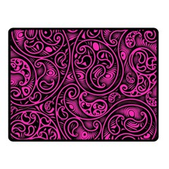 Hot Pink And Black Paisley Swirls Double Sided Fleece Blanket (small)