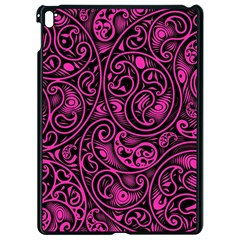 Hot Pink And Black Paisley Swirls Apple Ipad Pro 9 7   Black Seamless Case by SpinnyChairDesigns