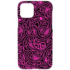Hot Pink And Black Paisley Swirls Iphone 11 Pro Black Uv Print Case by SpinnyChairDesigns
