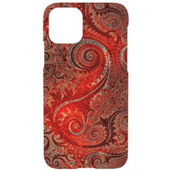 Scarlet Red Grey Brown Swirls Spirals Iphone 11 Pro Black Uv Print Case by SpinnyChairDesigns