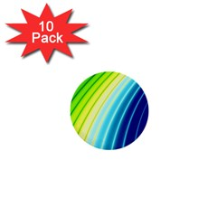 Sporty Stripes Swoosh Green Blue 1  Mini Buttons (10 Pack)  by SpinnyChairDesigns