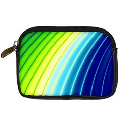 Sporty Stripes Swoosh Green Blue Digital Camera Leather Case