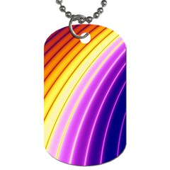 Sporty Stripes Swoosh Purple Gold Red Dog Tag (two Sides) by SpinnyChairDesigns