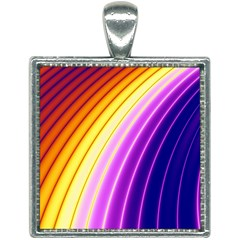 Sporty Stripes Swoosh Purple Gold Red Square Necklace