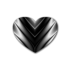 Black And Silver Pattern Heart Coaster (4 Pack)
