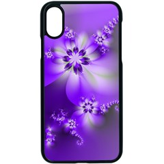 Violet Purple Flower Print Iphone Xs Seamless Case (black)