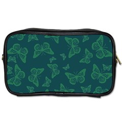 Midnight Green Butterflies Pattern Toiletries Bag (two Sides)