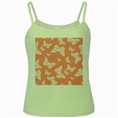 Pink And White Butterflies Green Spaghetti Tank