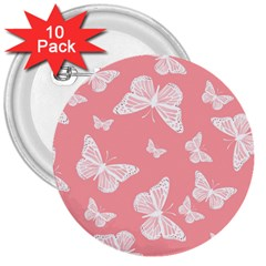 Pink And White Butterflies 3  Buttons (10 Pack)