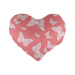 Pink And White Butterflies Standard 16  Premium Heart Shape Cushions
