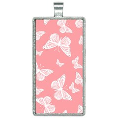 Pink And White Butterflies Rectangle Necklace