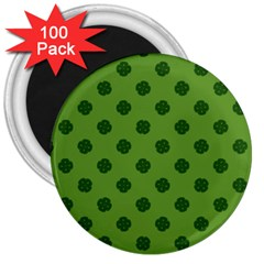 Green Four Leaf Clover Pattern 3  Magnets (100 Pack) by SpinnyChairDesigns