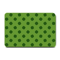 Green Four Leaf Clover Pattern Small Doormat  by SpinnyChairDesigns