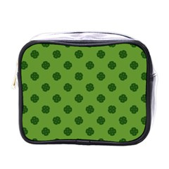 Green Four Leaf Clover Pattern Mini Toiletries Bag (one Side)