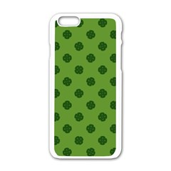 Green Four Leaf Clover Pattern Iphone 6/6s White Enamel Case by SpinnyChairDesigns