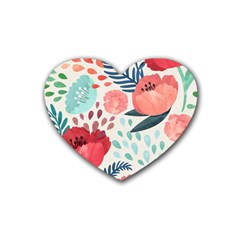 Floral  Heart Coaster (4 Pack)  by Sobalvarro