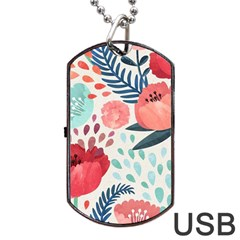 Floral  Dog Tag Usb Flash (two Sides)