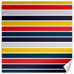 Horizontal Colored Stripes Canvas 16  X 16  by tmsartbazaar