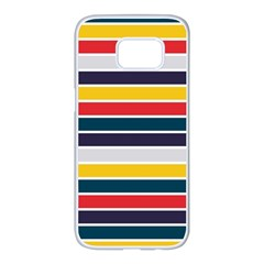Horizontal Colored Stripes Samsung Galaxy S7 Edge White Seamless Case