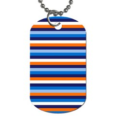 Ocean Blue Stripes Dog Tag (two Sides) by tmsartbazaar