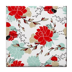 Floral Pattern  Tile Coaster by Sobalvarro