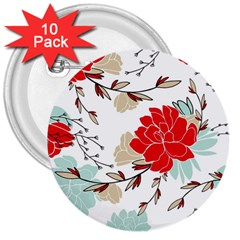 Floral Pattern  3  Buttons (10 Pack)  by Sobalvarro