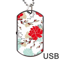 Floral Pattern  Dog Tag Usb Flash (one Side) by Sobalvarro