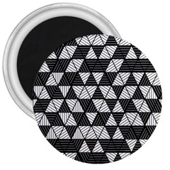Black And White Triangles Pattern 3  Magnets by SpinnyChairDesigns