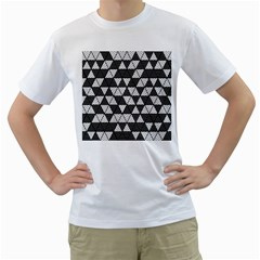 Black And White Triangles Pattern Men s T-shirt (white) (two Sided) by SpinnyChairDesigns