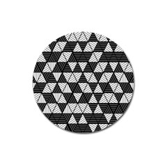 Black And White Triangles Pattern Magnet 3  (round) by SpinnyChairDesigns