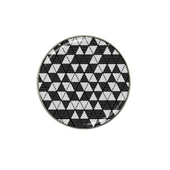 Black And White Triangles Pattern Hat Clip Ball Marker (10 Pack) by SpinnyChairDesigns