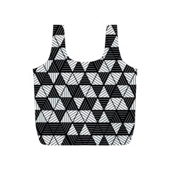 Black And White Triangles Pattern Full Print Recycle Bag (s) by SpinnyChairDesigns