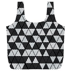 Black And White Triangles Pattern Full Print Recycle Bag (xxxl)