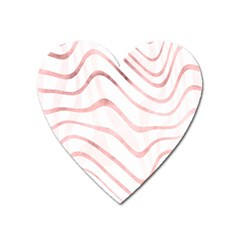 Pink Abstract Stripes On White Heart Magnet by SpinnyChairDesigns