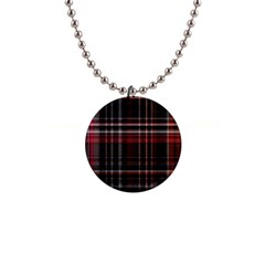 Red Black White Plaid Stripes 1  Button Necklace