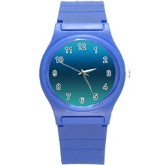 Blue Teal Green Gradient Ombre Colors Round Plastic Sport Watch (s) by SpinnyChairDesigns